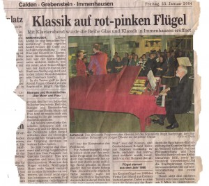 Zeitungsausschnitt erstes Konzert G&K